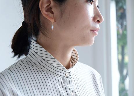 【AURA】コットンウール丸襟シャツ ストライプ