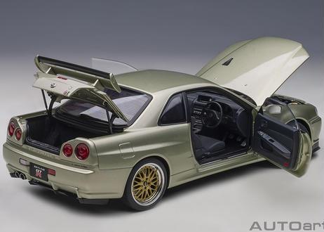 """AUTOart 1/18 日産 スカイライン GT-R (R34) Vスペック II ニュル """"BBS LM ホイール・バージョン"""" (ミレニアムジェイド) 77405"""