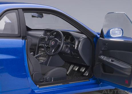 "AUTOart 1/18 日産 スカイライン GT-R (R34) Vスペック II ""BBS LM ホイール・バージョン"" (ベイサイドブルー) 77409"