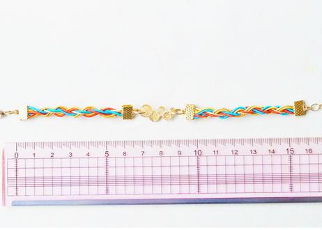金沢水引と純金箔のジェンダーレスブレスレット ~ アジアン ~ Mizuhiki and Pure Gold Leaf Genderless Bracelet - Asian
