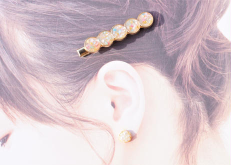 純金箔とシェルのかち割氷みたいなヘアクリップ Pure Gold Leaf and Shell's Cracked Ice Hair Clips