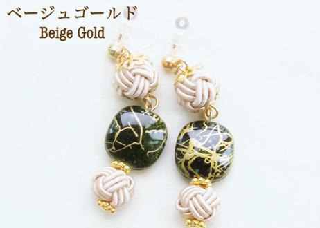 金沢水引と手描き風ビーズの和な耳飾り ~ 深緑 ~ Mizuhiki Earrings with Beads - Dark Green