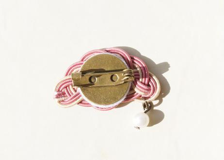 パールが揺れる金沢水引の帯留め ~ ブローチタイプ ~  Mizuhiki Obidome Where Pearls Sway ~ Type Brooch ~