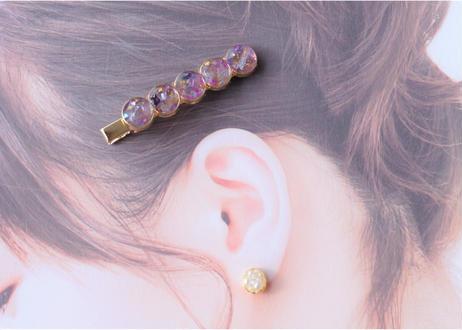 純金箔とアメジストのヘアクリップ Hair Clips with Pure Gold Leaf – Amethyst