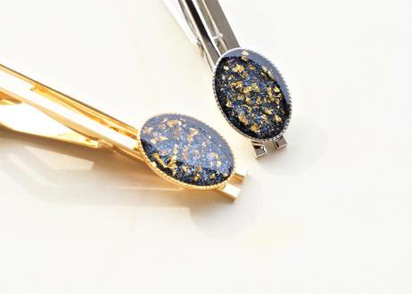 純金箔とネイビーブラックのネクタイピン Pure Gold Leaf and Navy Black Tie Clips