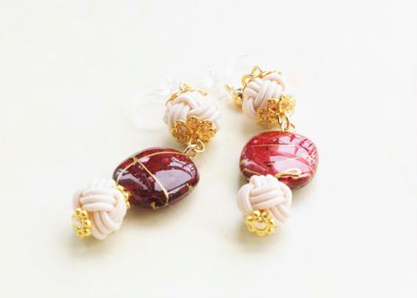 金沢水引と手描き風ビーズの和な耳飾り ~ ワインレッド ~ Mizuhiki Earrings With Beads - Wine Red