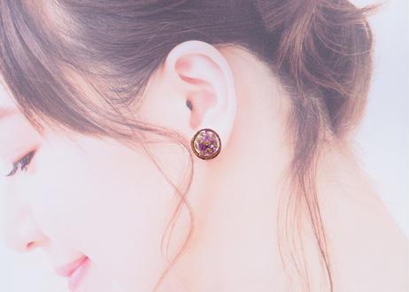 純金箔とアメジストのラウンド耳飾り Pure Gold Leaf Round Studs - Amethyst