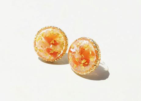 純金箔とペリドットのラウンド耳飾り Pure Gold Leaf Round Studs - Peridot