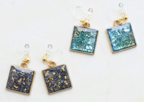 純金箔の宇宙な耳飾り Pure Gold Leaf  Earrings -Cosmos