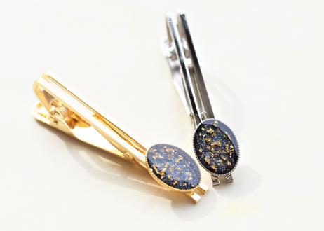 純金箔とブルーシェルのネクタイピン Pure Gold Leaf and Blue Shells Tie Clips