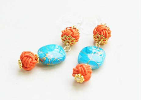 金沢水引と手描き風ビーズの和な耳飾り ~ ターコイズ ~ Mizuhiki Earrings With Beads - Turquoise