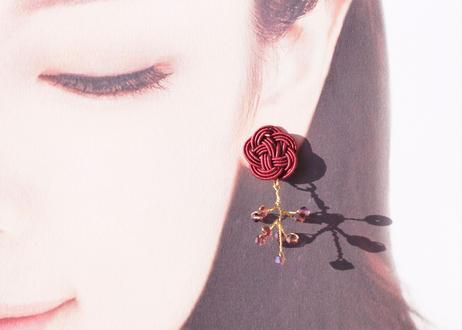 金沢水引とダイヤカットビーズの小枝耳飾り ~ワインレッド~ Mizuhiki and Diamond-Cut Beaded Twig Earrings ~Wine Red~
