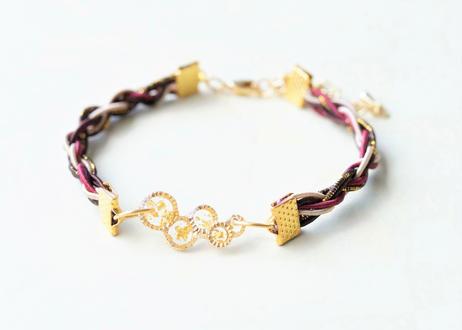 金沢水引と純金箔のジェンダーレスブレスレット ~ ボルドー ~ Mizuhiki and Pure Gold Leaf Genderless Bracelet - Bordeaux