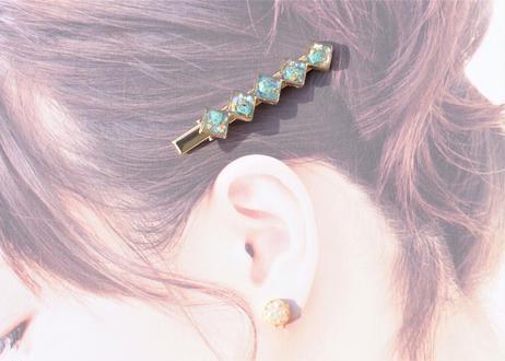 純金箔とターコイズのヘアクリップ Hair Clips with Pure Gold Leaf – Turquoise