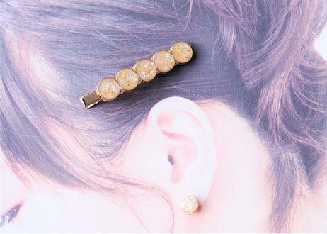 純金箔とシェルのヘアクリップ ~ イエロー ~ Hair Clips with Pure Gold Leaf – Yellow