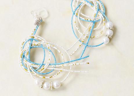 和モダンな金沢水引とパールのアシメ耳飾り Asymmetry Mizuhiki Earrings with Pearl