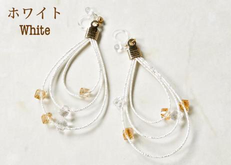 金沢水引とガラスビーズのオーロラ耳飾り Mizuhiki Earrings with Aurora Glass Beads