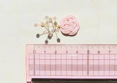 金沢水引とダイヤカットビーズの小枝耳飾り ~ さくら ~ Mizuhiki and Diamond Cut Beads Twig Earrings ~ Sakura ~