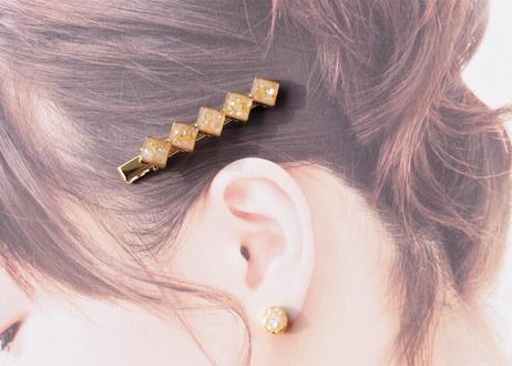 純金箔とシェルのヘアクリップ ~ オレンジ ~ Hair Clips with Pure Gold Leaf – Orange