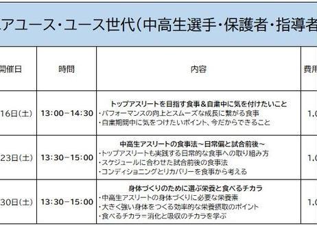 【3開催申込】ジュニアユース・ユース世代(中高生選手・保護者・指導者向け) 「オンラインスポーツ栄養セミナー」講師:佐藤彩香先生