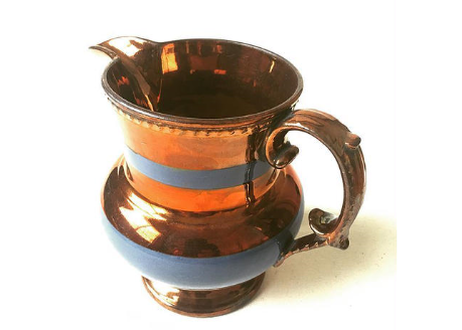 English 1800's Antique Pottery Jug/Pitcher in Copper Luster