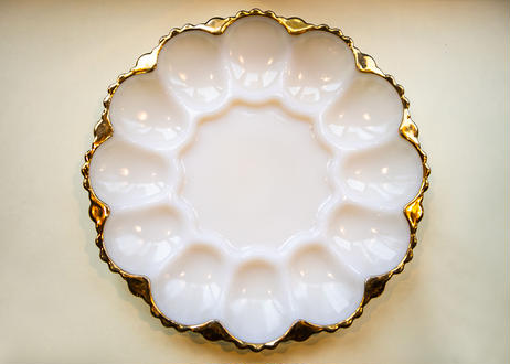 Vintage Fire King Egg Relish Plate with Gold Trim From U.S.A