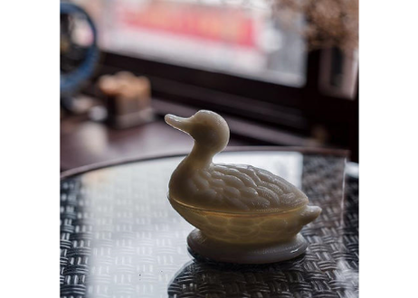 Vintage Vallerysthal France Milk Glass Swimming Duck Dish