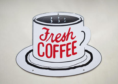 Vintage Coffee Cup Metal Signbord