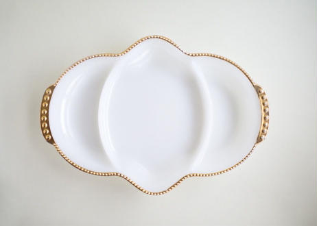 Vintage Fire King Divided Dish with Gold Trim From U.S.A