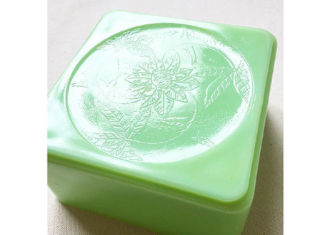 Vintage Janette Glass Jadeite Square Floral Refrigerator Container