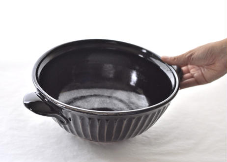 黒釉しのぎ鉢(大)