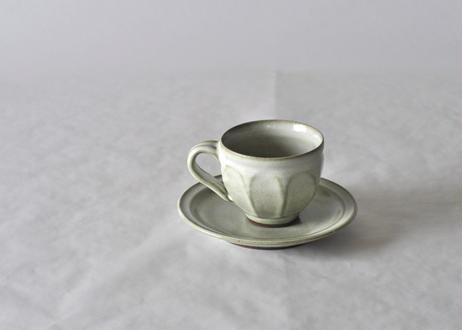 面取コーヒー碗皿 白
