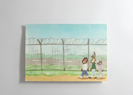 猪原秀陽 漫画の絵・飛行場 原画 簡易額装付き