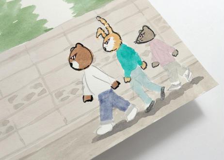 猪原秀陽 漫画の絵・ブロック塀  原画 簡易額装付き