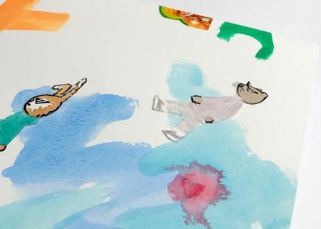 猪原秀陽 漫画の絵・バッドアニマルズ 2 原画 簡易額装付き
