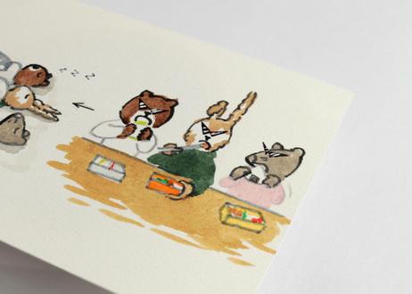 猪原秀陽 漫画の絵・お弁当 原画 小 A6 簡易額装付き