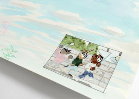 猪原秀陽 漫画の絵・空 原画 簡易額装付き