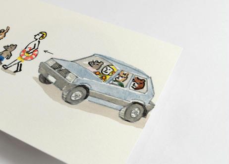 猪原秀陽 漫画の絵・ドライブ 原画 小 A6 簡易額装付き