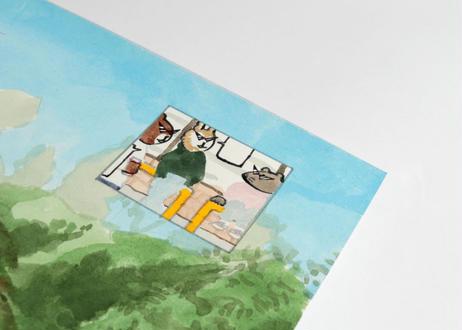 猪原秀陽 漫画の絵・農場 原画 簡易額装付き