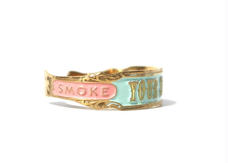 """""""Cigar label"""" Hand paint gold bangle / YOUR SUCCESS"""
