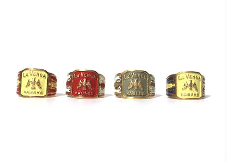 """ Cigar label ""  Hand paint 24k gold plate ring"