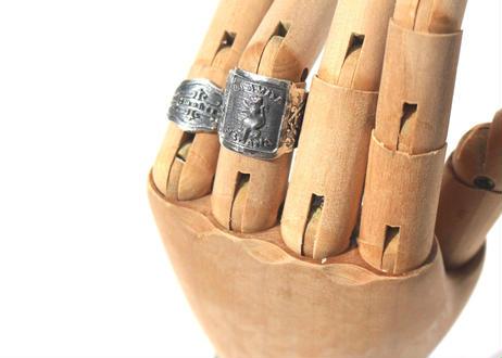 """Cigar label"" Silver ring / Bordeaux"