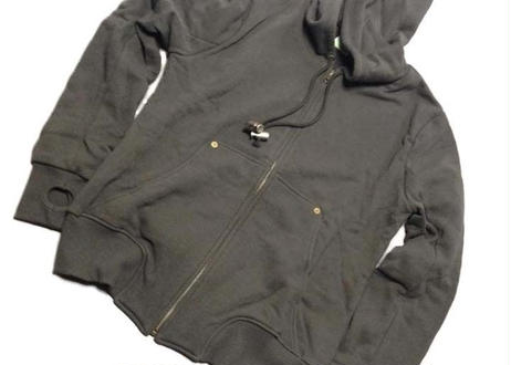 "GRASSHOPPER RECORDS OFFICIAL Hoodies ""Sumi Black body (silver print)"""