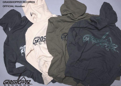 "GRASSHOPPER RECORDS OFFICIAL Hoodies ""Sumi Black body (green print)"""