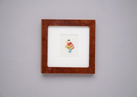 "Framed collage art work by Takaharu Shimizu, 清水貴栄コラージュ作品 ""kitsutsuki-3"" from toto ""windy"" MV"