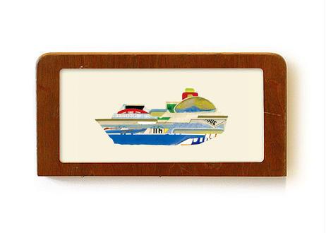 """Jumbojet ship"" - Framed collage art work by Takaharu Shimizu 清水貴栄コラージュ作品"
