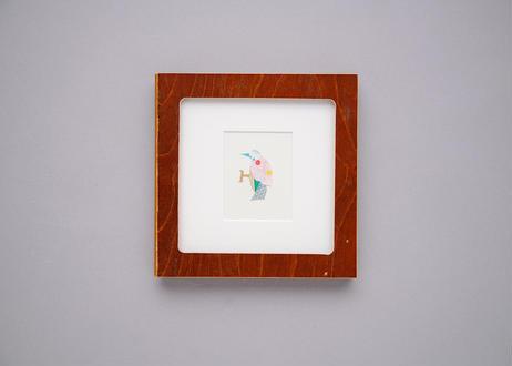 "Framed collage art work by Takaharu Shimizu, 清水貴栄コラージュ作品 ""kitsutsuki-1"" from toto ""windy"" MV"