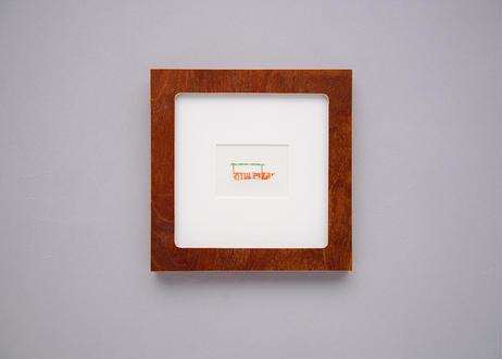 "Framed collage art work by Takaharu Shimizu, 清水貴栄コラージュ作品 ""ship-2"" from toto ""windy"" MV"