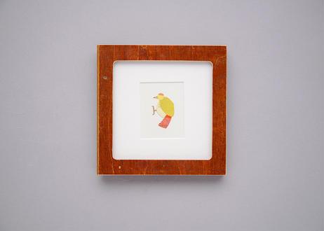 "Framed collage art work by Takaharu Shimizu, 清水貴栄コラージュ作品 ""kitsutsuki-2"" from toto ""windy"" MV"