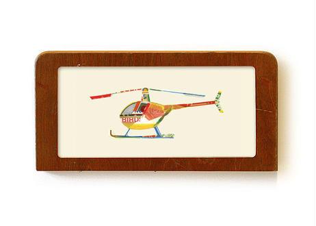 """birdscopter"" - Framed collage art work by Takaharu Shimizu 清水貴栄コラージュ作品"